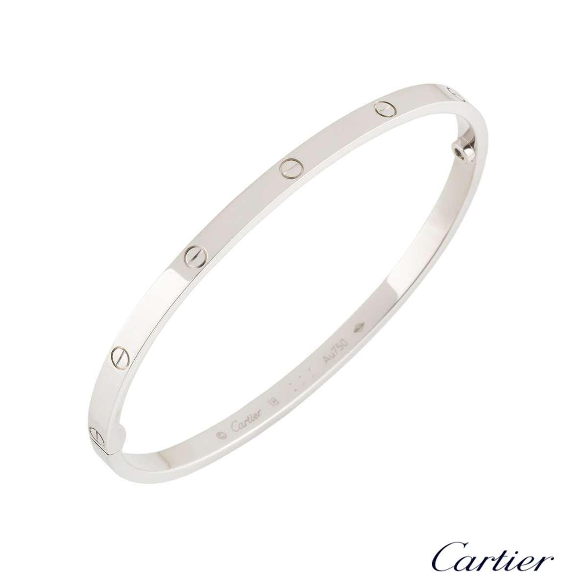 Cartier White Gold Love Bracelet SM Size 18B6047418